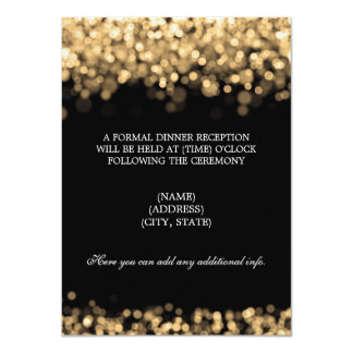 """Luces del oro de la recepción nupcial invitación 4.5"""" x 6.25"""""""