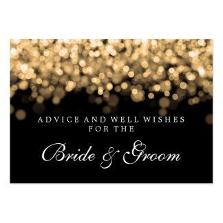 Luces del oro de la tarjeta del consejo del boda tarjetas de visita grandes