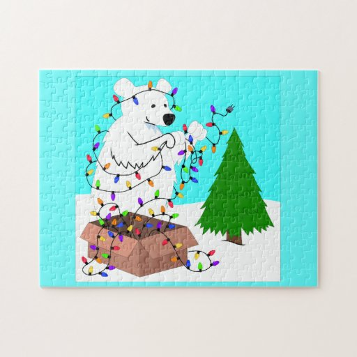 Luces del oso polar y del árbol rompecabezas