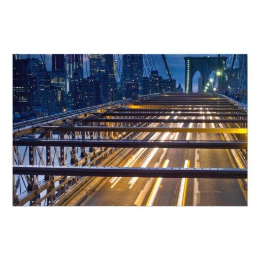 """Luces del puente de Brooklyn en la noche Folleto 5.5"""" X 8.5"""""""