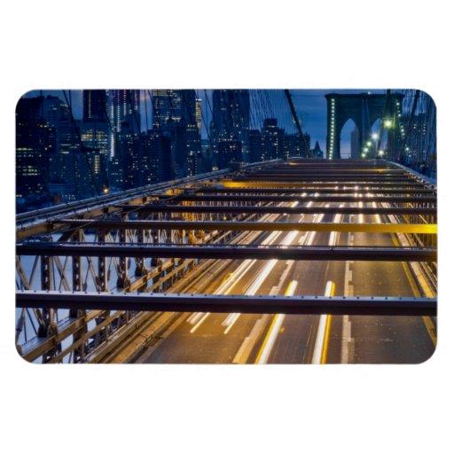 Luces del puente de Brooklyn en la noche Imanes Flexibles