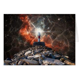Luces eléctricas del espacio tarjeta de felicitación
