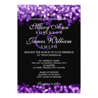 """Luces elegantes de la púrpura del boda invitación 5"""" x 7"""""""