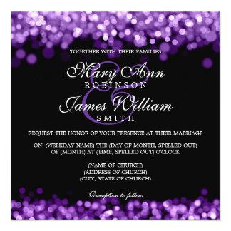 """Luces elegantes de la púrpura del boda invitación 5.25"""" x 5.25"""""""