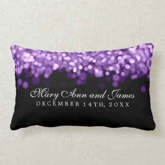 Luces elegantes de la púrpura del favor del boda cojín