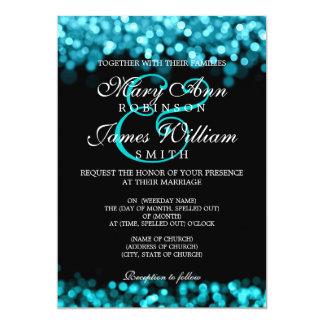 """Luces elegantes de la turquesa del boda invitación 5"""" x 7"""""""