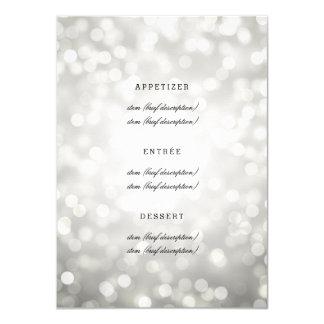 """Luces elegantes del brillo de la plata del menú invitación 4.5"""" x 6.25"""""""