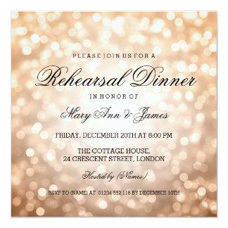 Luces elegantes del brillo del cobre de la cena invitación 13,3 cm x 13,3cm