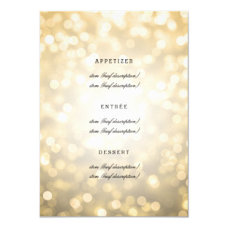 """Luces elegantes del brillo del oro del menú del invitación 4.5"""" x 6.25"""""""