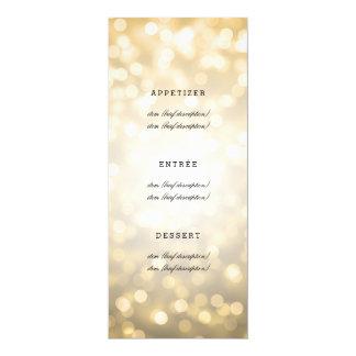"""Luces elegantes del brillo del oro del menú del invitación 4"""" x 9.25"""""""