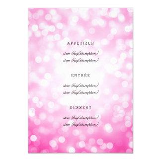 """Luces elegantes del brillo del rosa del menú del invitación 4.5"""" x 6.25"""""""