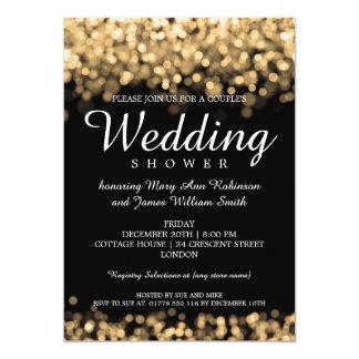 """Luces elegantes del oro de la ducha de los pares invitación 5"""" x 7"""""""