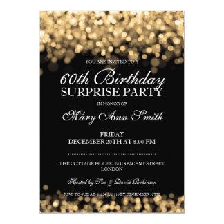 Luces elegantes del oro de la fiesta de cumpleaños invitación 12,7 x 17,8 cm