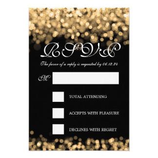 Luces elegantes del oro de RSVP que se casan Comunicado Personalizado