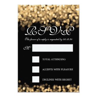 """Luces elegantes del oro de RSVP que se casan Invitación 3.5"""" X 5"""""""
