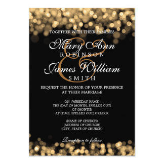 Luces elegantes del oro del boda invitación 12,7 x 17,8 cm