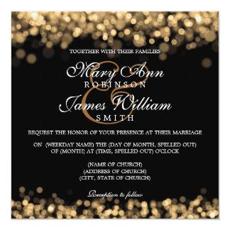 """Luces elegantes del oro del boda invitación 5.25"""" x 5.25"""""""