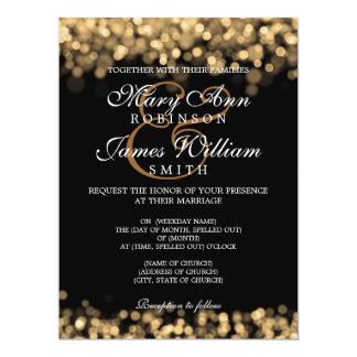 """Luces elegantes del oro del boda invitación 6.5"""" x 8.75"""""""