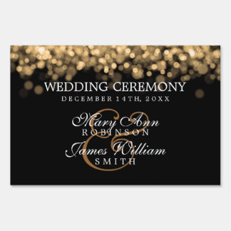 Luces elegantes del oro del boda letrero