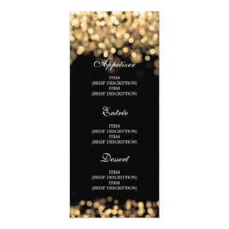"""Luces elegantes del oro del menú del boda invitación 4"""" x 9.25"""""""