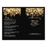 Luces elegantes del oro del programa del boda tarjetones