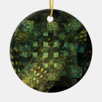 Luces en el ornamento del círculo del arte adorno navideño redondo de cerámica