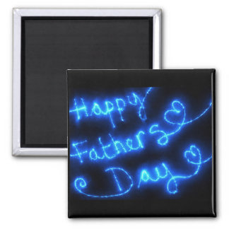 Luces felices del azul del día de padre imán cuadrado