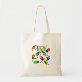 Luces felices y brillantes adorables bolsa lienzo