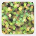 Luces festivas del verde y del rosa pegatina cuadradas personalizada