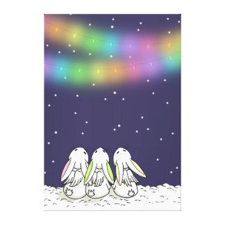 Luces festivas y nieve que cae - impresión del lona envuelta para galerias
