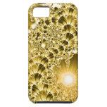 Luces florales de la vid del fractal del oro iPhone 5 Case-Mate carcasas