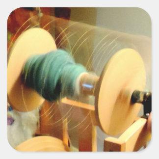 Luces girantes de la fotografía de la rueda de pegatina cuadrada
