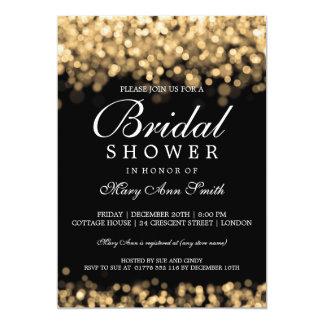 Luces nupciales elegantes del oro de la ducha invitación 12,7 x 17,8 cm