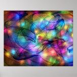 luces que brillan intensamente del arco iris poster