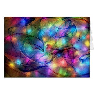 luces que brillan intensamente del arco iris tarjeta de felicitación