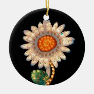 luces que destellan de la flor de la margarita ornamento para reyes magos