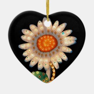 luces que destellan de la flor de la margarita adorno de navidad