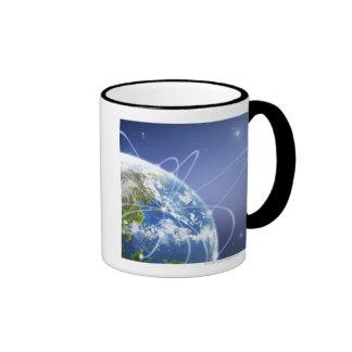 Luces que rodean la tierra tazas de café