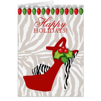 Luces rojas de la cebra del zapato del tacón alto tarjeta de felicitación