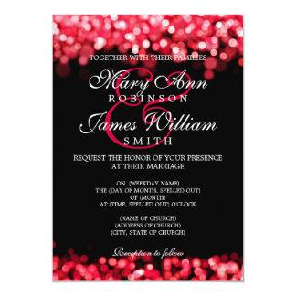 """Luces rojas del boda elegante invitación 5"""" x 7"""""""