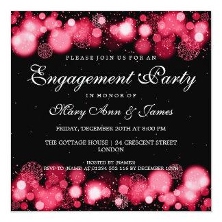 Luces rojas del fiesta de compromiso del boda del invitacion personal