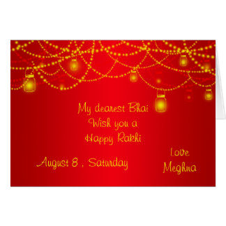 Luces rojas elegantes Rakhi de las linternas Tarjeta Pequeña