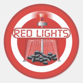Luces rojas pegatinas redondas