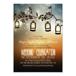 luces rústicas del jardín - linternas que casan la invitación 12,7 x 17,8 cm
