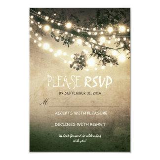 Luces rústicas que casan las tarjetas de RSVP Invitación 8,9 X 12,7 Cm