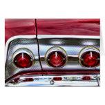 luces traseras del impala de los años 60 tarjeta de felicitación