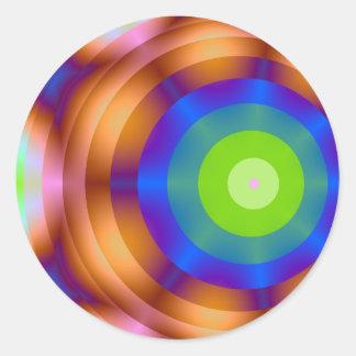 Luces verdes del círculo de la blanco pegatina redonda