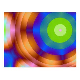 Luces verdes del círculo de la blanco tarjeta postal