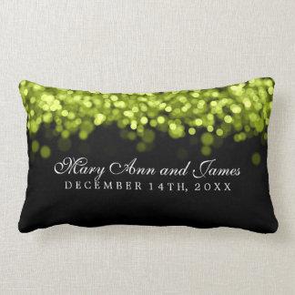 Luces verdes del favor elegante del boda almohadas