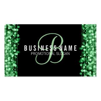 Luces verdes y chispas del monograma simple tarjetas de visita